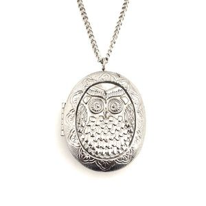 Jewelry - Vintage Owl Locket Necklace Silver Oval Embossed